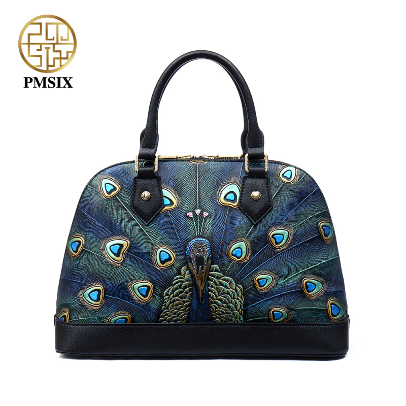 Pmsix Embossed Animal prints Genuine Leather Shell Bags Brand Women Designer Handbags convenient solid High quality