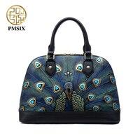 Pmsix Women Embossed Peacock Genuine Leather Shell Bag Brand Women Designer Handbags 100 Genuine Leather Female