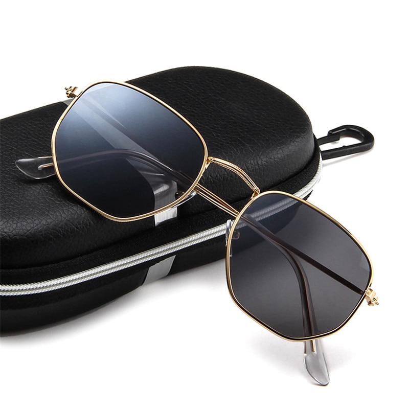 ZXWLYXGX Vintage Brand Designer Hexagonal Sunglasses Women Men Brand Designe Retro Driving Mirror Sun Glasses Female Male