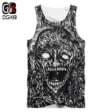 OGKB Tanks Women/men's Summer Funny Print 3d Tank Top Black And White Terror Vest Singlets Man Hiphop Punk Sleeveless Tees(China)
