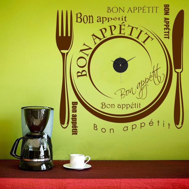 Wall Clock Sticker Fork Knife Bon Appetit Decal Sticker Decal DIY ...