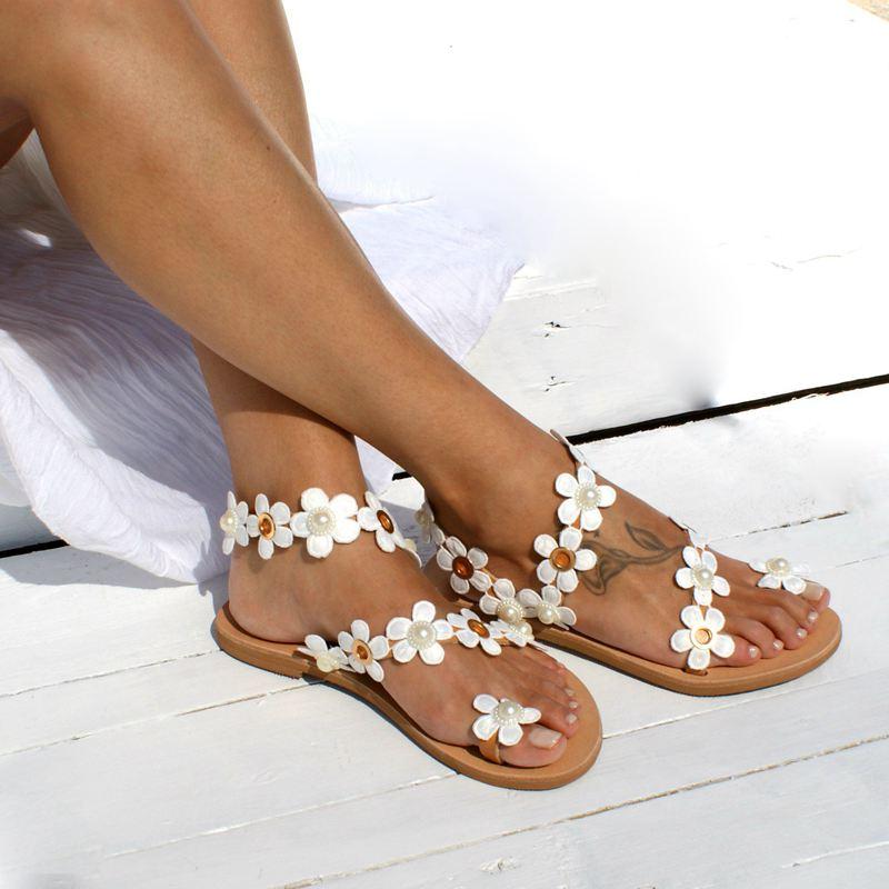 Schuhe Frank Monerffi Frauen Böhmen Blume Flache 2019 Sommer Sandalen Schuhe Damen Mädchen Schweiß Gladiator Sandalen Partei Schuhe Plus Größe Sandalia Produkte Werden Ohne EinschräNkungen Verkauft