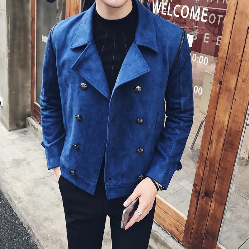 2017 Royal Blue Jackets Mens Double Breasted Jackets Mens <font><b>Bomber</b></font> Jackets Deerskin <font><b>Black</b></font> Two Pcs Blazers Winter Thick Jaqueta