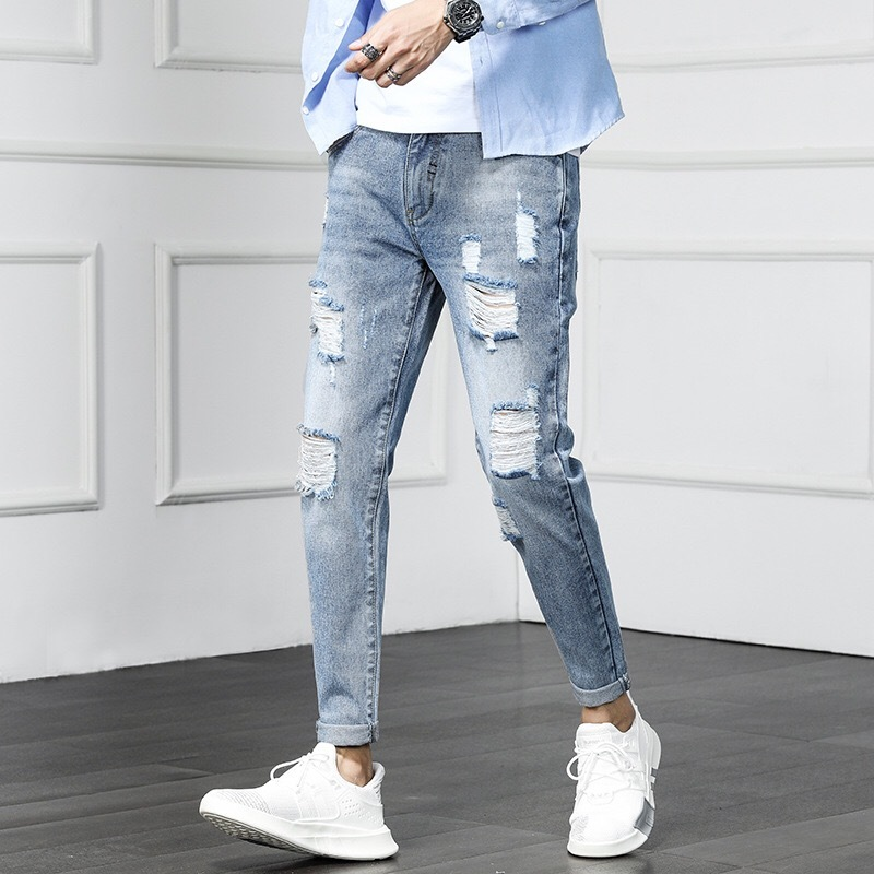 2019 Spring And Summer New Men Thin Jeans Fashion Korean Version Of The Handsome Self-cultivation Feet Hip Hop Chinese Style