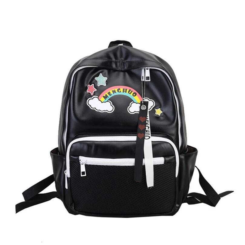 New Fashion Rainbow Women PU Leather Backpack Star Rucksack School Bag for Teenager Girl Mochila Shoulder Bagpack Female girsl kid backpack ladies boy shoulder school student bag teenagers fashion shoulder travel college rucksack mochila escolar new