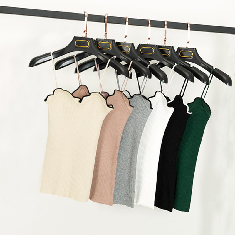 Knit Tank Tops Women white Camisole Vest Ruffle collar design Stretchable Slim Sexy spaghetti Strappy shirt clothing for women