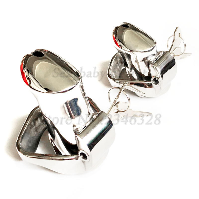 2019 New Design Stainless Steel Male Chastity Device With 2 Magic Locks,Cock Cage,Penis Sleeve,Penis Rings,BDSM Sex Toys For Men