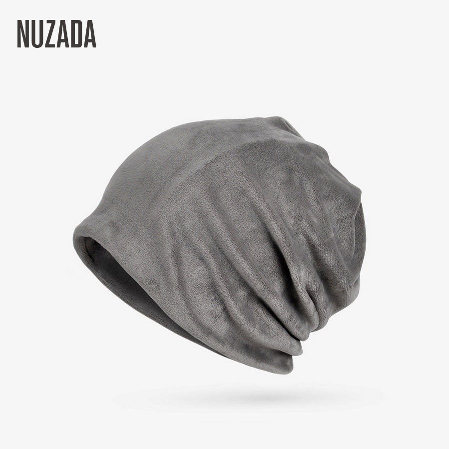NUZADA Winter Hat Solid Color Unisex Men Women   Skullies     Beanies   Hedging Cap Knit Knitted Double Layer Caps Bonnet Two Functions