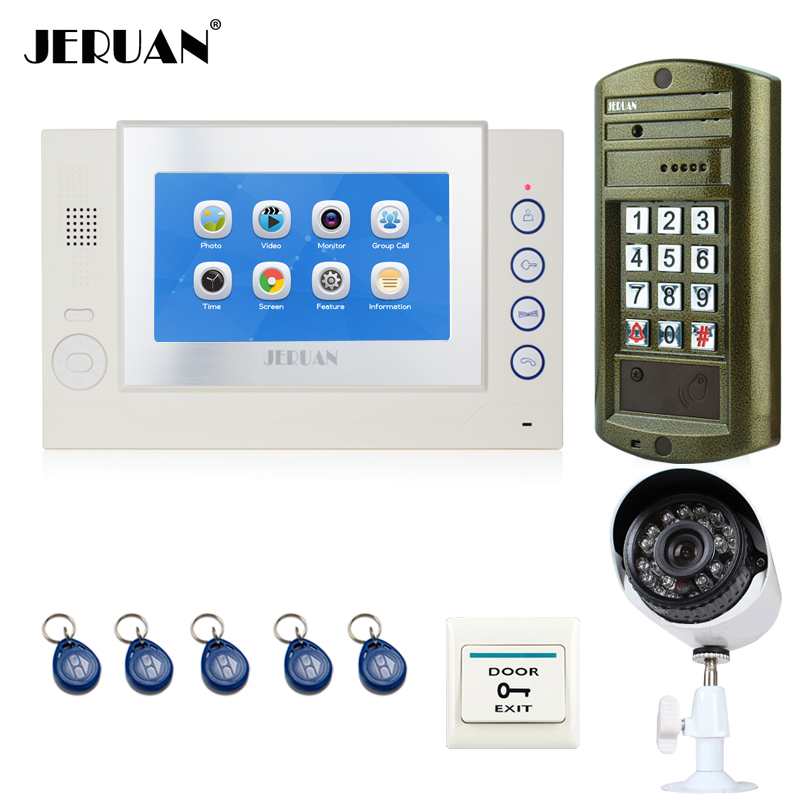 JERUAN NEW 7`` TOUCH Screen Video Doorbell Record Intercom System kit+ Waterproof Password HD Mini Camera + Analog Camera 2V1