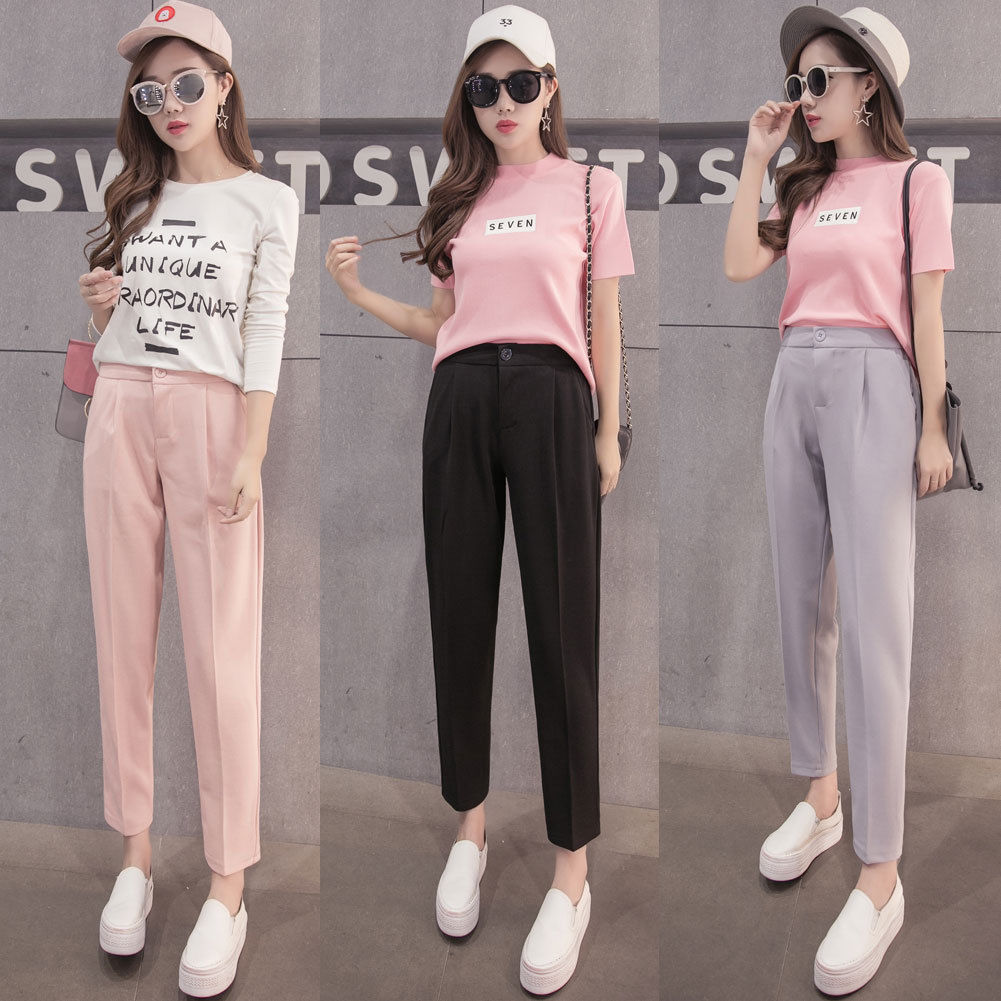 2018 New Harem Pants Women Hot Women Fashion Ankle-Length Trouse Female Classic Button High Elastic Waist Slim Long Pants