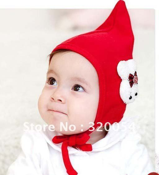 Free shipping,5pcs/lot,wholesale, 2012 Korean version of the bow a small rabbit wizard hat, baby cotton hat,  baby births cap