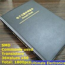 36 tipos x50 comumente usado smd transistor sortimento kit sortido livro de amostra