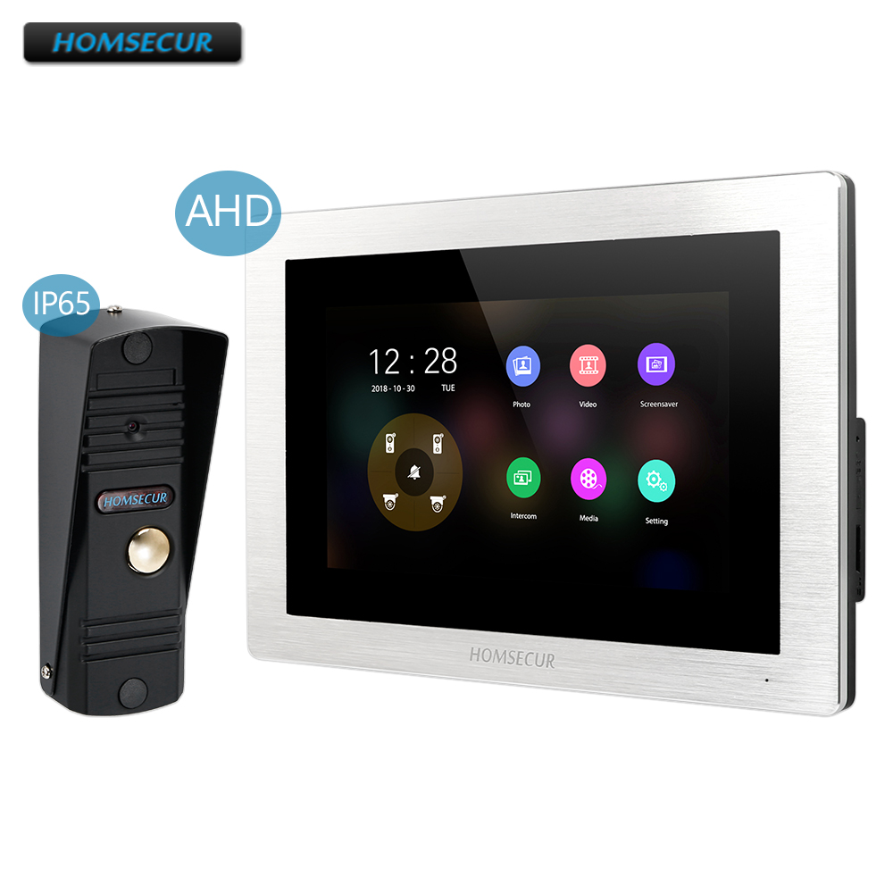 HOMSECUR 4 Wire AHD Video Door Phone Intercom System With 1.3MP Black Camera BM714HD-S+BC011HD-B