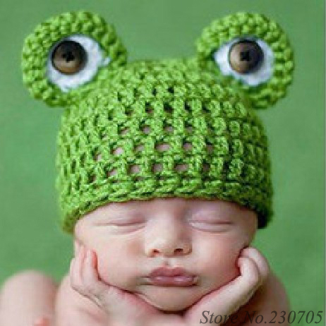 Unisex Infant Baby Hand Crochet Frog Hat Cap Knitted Animal Beanie