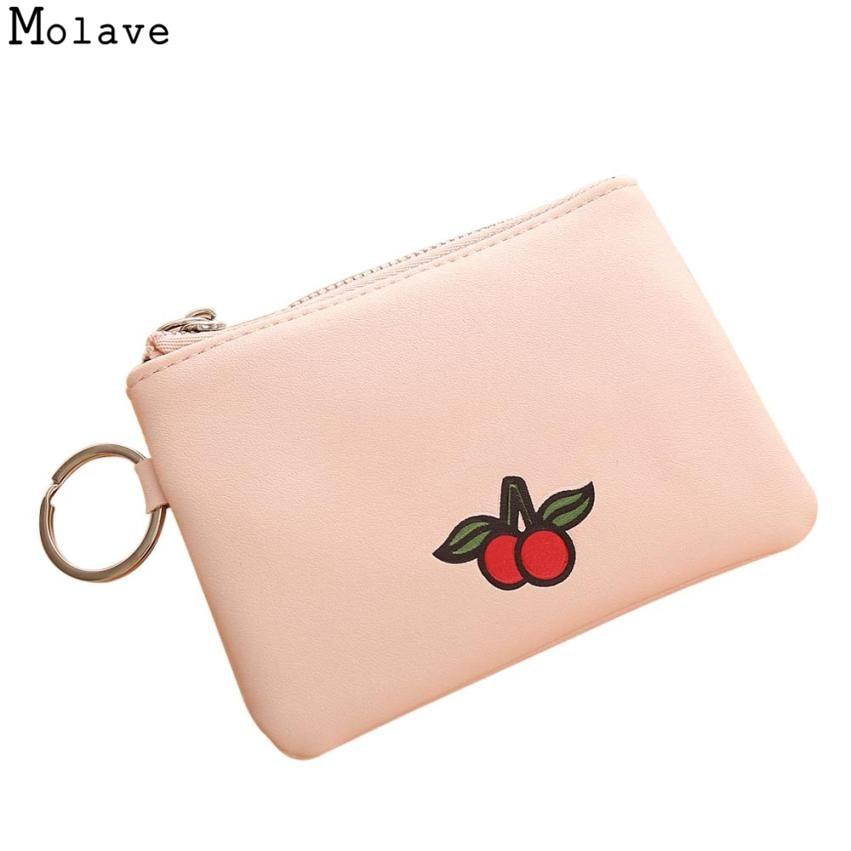 2017 New Cute Fruit Print PU Leather Slim Mini Wallet Women Small Clutch Female Purse Coin Card Holder Dollar Bag Female AU29