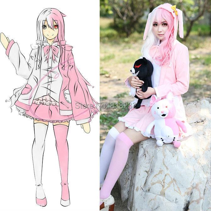 Danganronpa 2 Monomi Pink White Rabbit Uniform Dress Outfit Anime Cosplay Costumes
