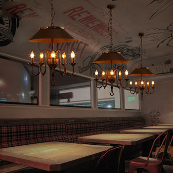ลอฟท์อุตสาหกรรมสไตล์จี้แสงเหล็กดัดร่มรูปร่างวินเทจจี้แสงบาร์สร้างสรรค์ศิลปะDecoแสง