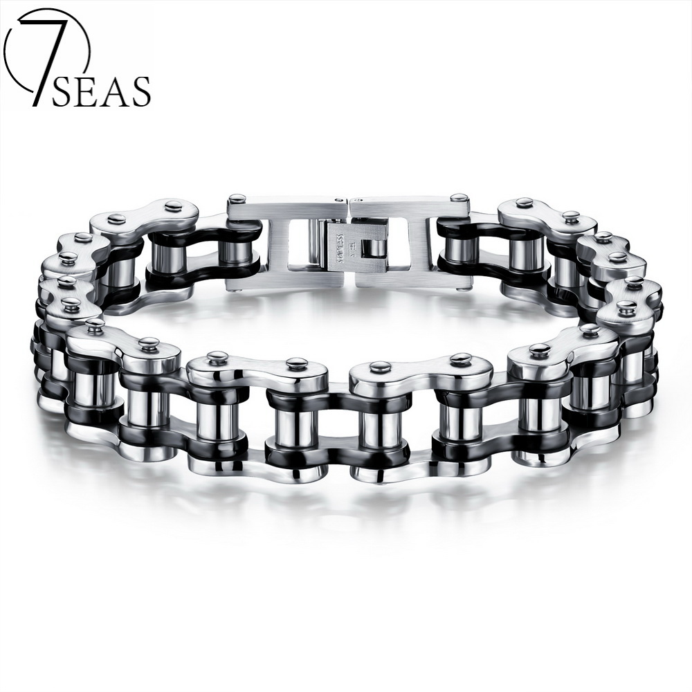 7SEAS Motocycle Men Bracelets Bangles Casual Link Chain Stainless Steel 4 Color Biker Bicycle Jewelry Bracelet For Man 7S781 meaeguet fashion stainless steel bike bracelet men biker bicycle motorcycle chain bracelets bangles jewelry