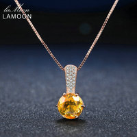 LAMOON Amber Pendant Necklace 925 sterling silver jewelry Women Fine Jewelry 8mm 2ct Natural Round Citrine Pendant Long Necklace