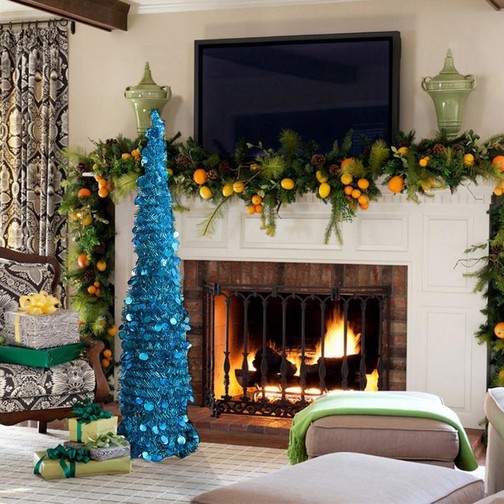 5 fuß Pop Up Lametta Künstliche Weihnachten Baum mit Ständer Blau Weihnachten Urlaub Neue Jahr Decor