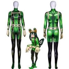 цена Anime My Hero Academia Asui Tsuyu Cosplay Costumes Women Girls Christmas Party Halloween 3D Jumpsuits Bodysuit High Quality в интернет-магазинах