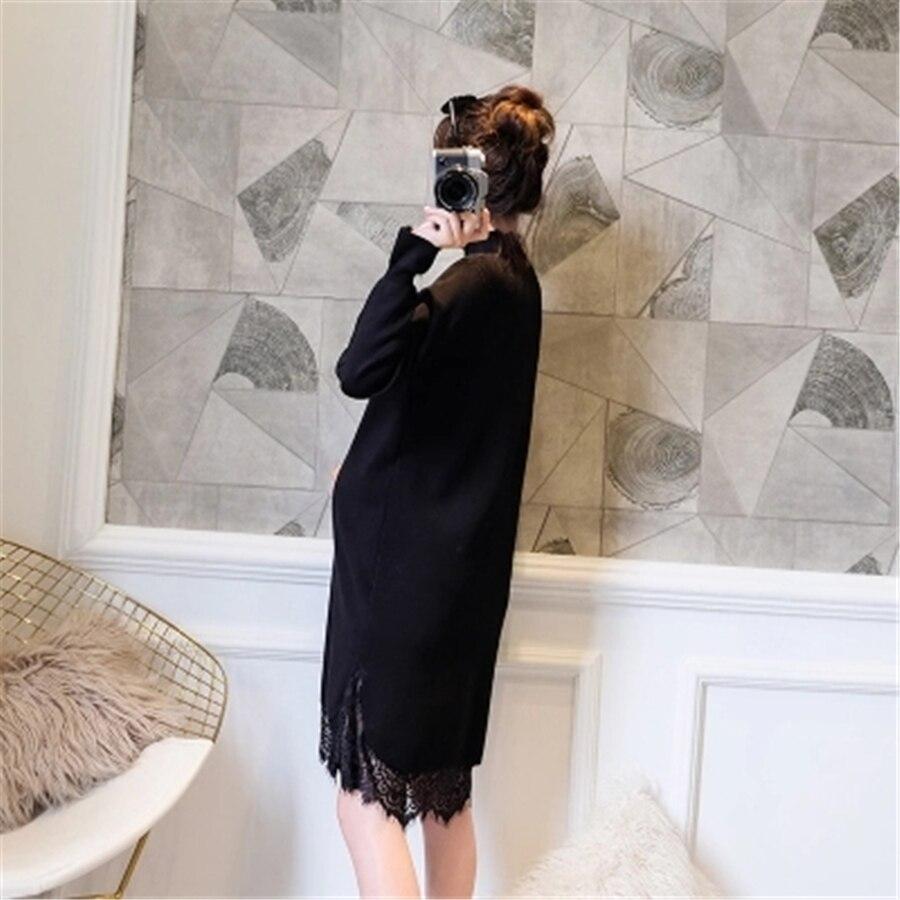 2017 Maternity Dresses High Neck Turtleneck Knitted Maternity Dress Pregnant Women Vestido Winter Sweater Knitted Dress 70R0181