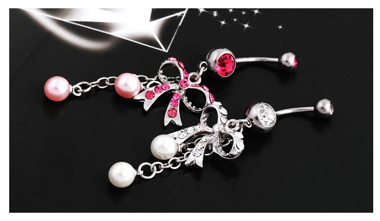 HTB1VmXmNVXXXXc8XpXXq6xXFXXX1 Sexy Butterfly Bow Dangling Belly Button Ring For Women - 2 Colors
