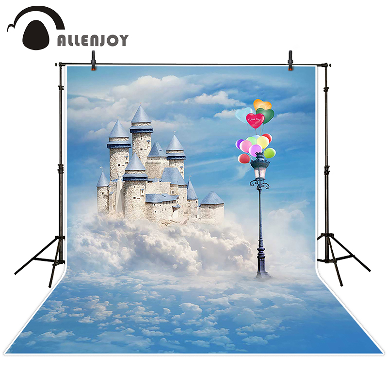 Allenjoy photographic background Balloon lights sky castle backdrops baby princess photo Send folded 150x200cm