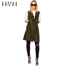 HYH HAOYIHUI 2017 Autumn New Fashion Style Female Army Green Turn-down Collar Double Breasted Pocket Women Long Casual  Vests