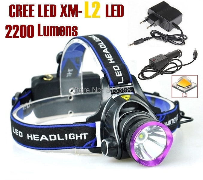 AloneFire HP81 cree led Headlight Cree XM-L2 LED 2200LM cree led Headlamp light for 1/2 x18650+AC Charger/Car charger