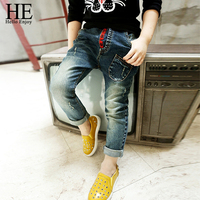 HE Hello Enjoy New Arrival Children Jeans Boys Girls Skinny Jeans Kids Fashion Denim Jeans Children Spring Autumn Long Pants