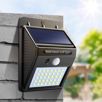 Panel słoneczny światła uliczne dla domu płot ogrodowy PIR czujnik ruchu wykrywanie kinkiety 35 30 20 SMD2835 leds lampa słoneczna wodoodporna tanie i dobre opinie Lcamaw Oświetlenie uliczne 1 year ROHS Brak SOLAR LED Solar Wall Lamp IP65 Nikiel szczotkowany Awaryjne Żarówki led Nowoczesne