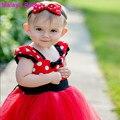 Malayu Ребенок Европа и Америка 2016 новые прохладное лето младенческой точка подтяжки туту тюль лук пояс red Christmas party dress 0-2 Y