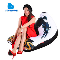 LEVMOON Beanbag Sofa Chair Legends MAN Seat Zac Comfort Bean Bag Bed Cover Without Filler Cotton