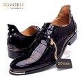 Tamaño 37-47 versión Coreana de la tendencia de los hombres oxfords Moda remaches de encaje de punta estrecha charol zapatos Casual hombres zapatos de goma Z262