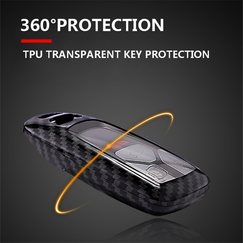 Carbon fiber PC Key Cover Case For Audi A4 A5 S4 S5 B9 8W Q7 4M Q5 TT TTS RS Coupe Roadster 2017 2018 Smart Remote Shell in Key Case for Car from Automobiles Motorcycles