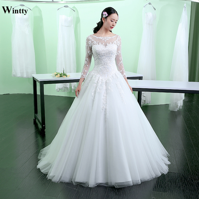 Wintty 2017 high quality wedding dresses with long sleeves lace high ...