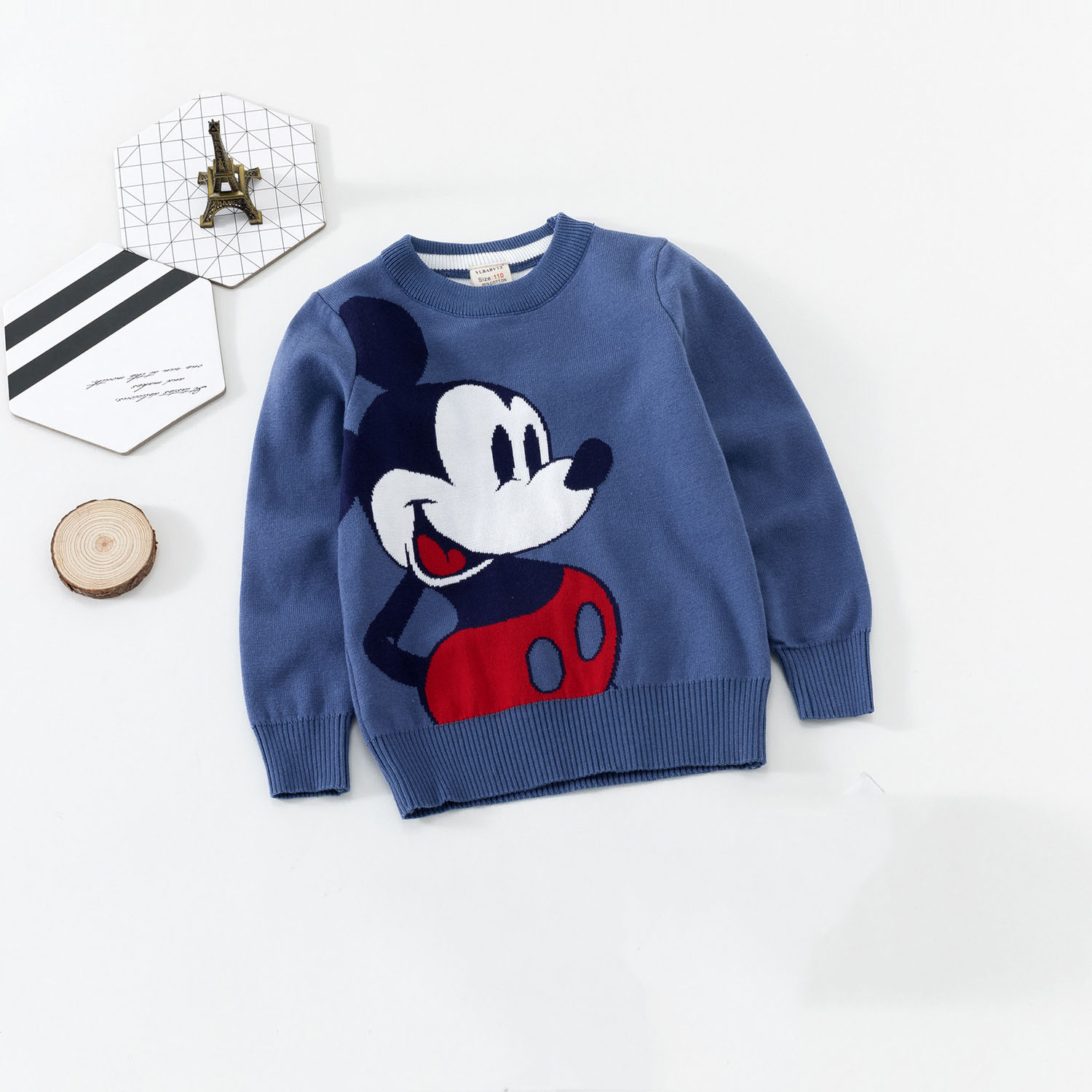 Toddler Baby Boy Sweater Cartoon Mickey Embroidery Autumun Winter Kids Double deck Minnie Kids Girl Knit Sweaters Cute Tops in Sweaters from Mother Kids