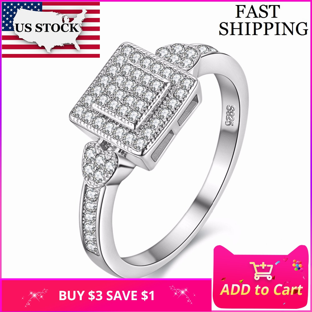 73df03062c662 US STOCK Uloveido Cubic Zirconia Square Silver Color Crystal Rings for  Women Wedding Ring Female Birthday Gifts Anillos Y010