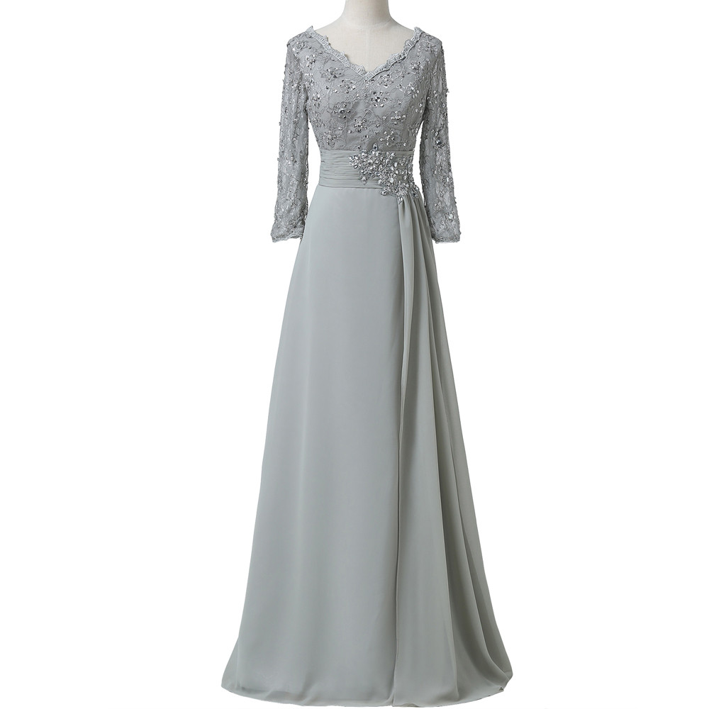 Grace Karin Chiffon Lace Mother of the Bride Dresses 3/4 Sleeve Double V Neck Floor Length Grey Beading Formal Mother Prom Dress 8