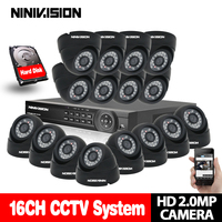 16CH CCTV System 1080P DVR Kits HDMI HD Black 3000TVL Indoor IR CUT Camera With AHD