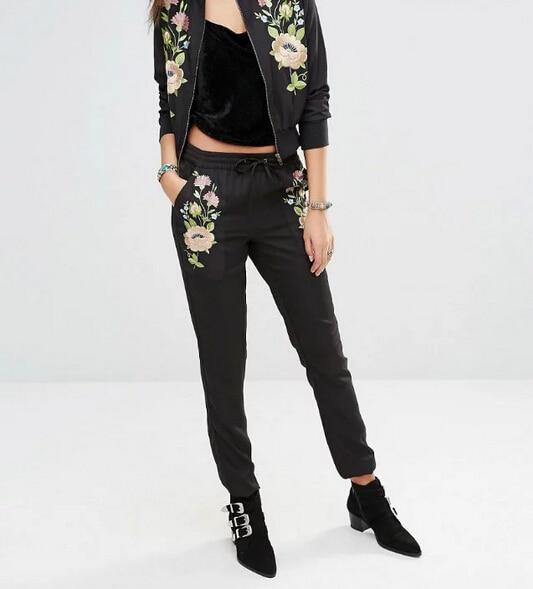 New 2016 Fashion Women Floral Embroidery Pencil Pants Casual Ladies Elastic Waist Trousers Pantalon Femme