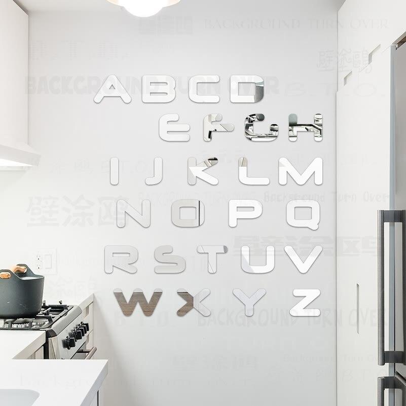 우아한 영어 편지 견적 장식 거울 벽 스티커 저장소 룸 로그인 이름 키즈 베이비 룸 보육 침실 장식 3D R195