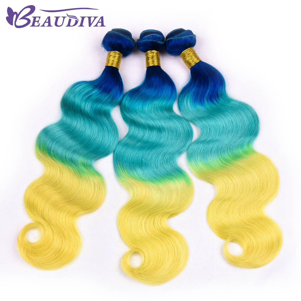 Peruvian Body Wave Remy Human Hair bundle Blue/Sky/Yellow Color 16-26 inch Peruvian Hair Weaving Extensions