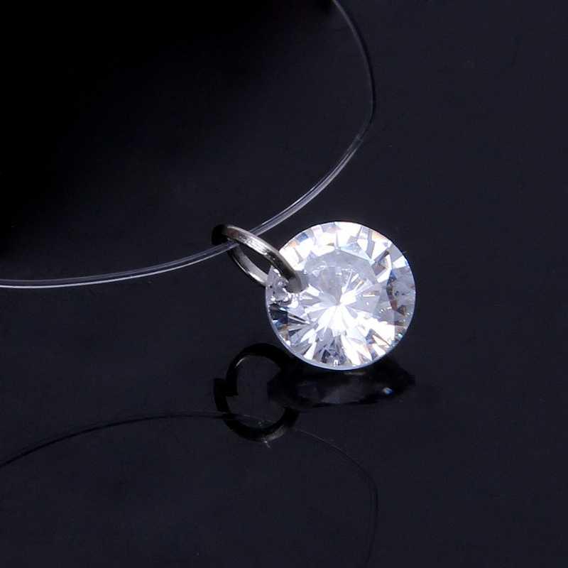 Невидимый кубического циркония кулон цепочки и ожерелья для женщин прозрачная леска колье