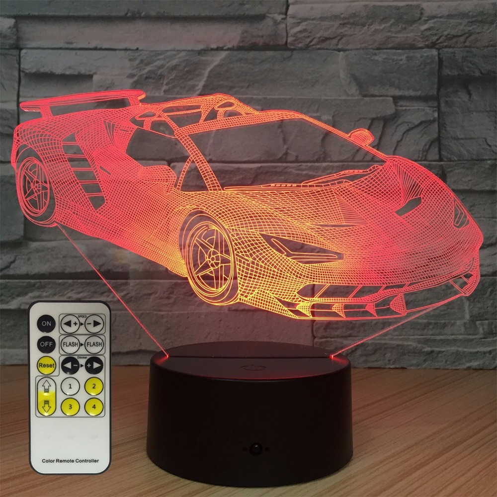 Car Beside Lamp 7 Colors Change with Remote Kids Night Light Optical Illusion Lamps for Kids Lamp As a Gift Ideas for Boys Girls