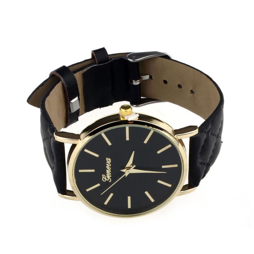 Checkers Faux Women Quartz Watch Black