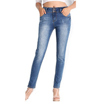 Women Vintage Double Button Mid Waist Stretch Pencil Jeans Lady Casual Washed Skinny Work Denim Trouser