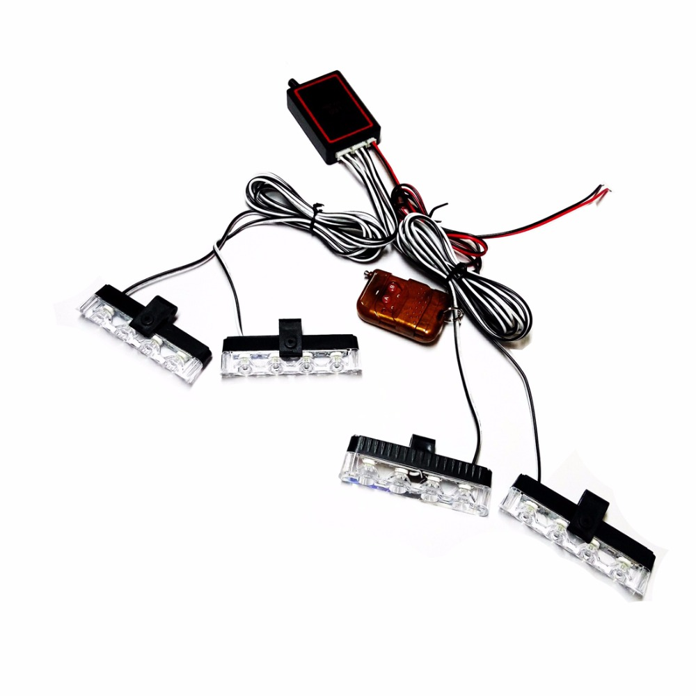 4in1 12V Strobe Warning Lamp Car Truck Emergency Flash Light Firemen Lights DRL Ambulance Police Lamp W/ Remote Control