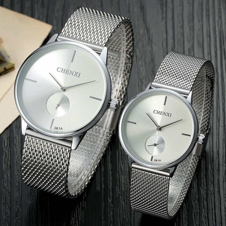 Fashion simple stylish Top Luxury brand CHENXI Watches men women Stainless Steel Mesh band Quartz-watch thin Dial Clock man lady купить